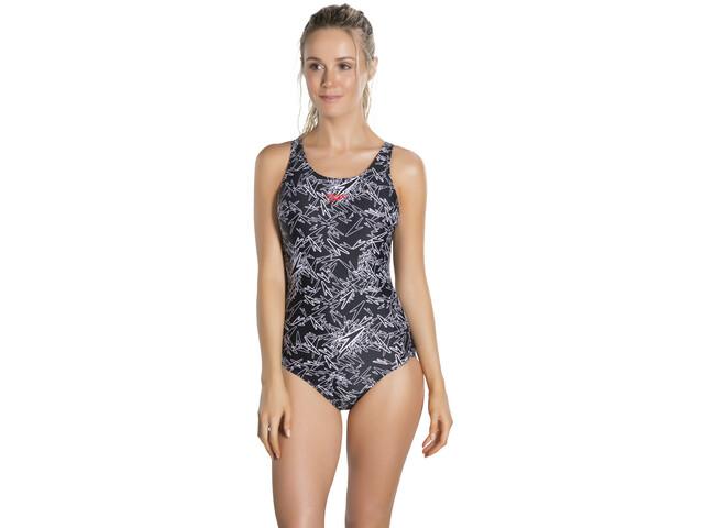 17ff77f0d76 speedo Boom Allover Muscleback Swimsuit Damer, black/white